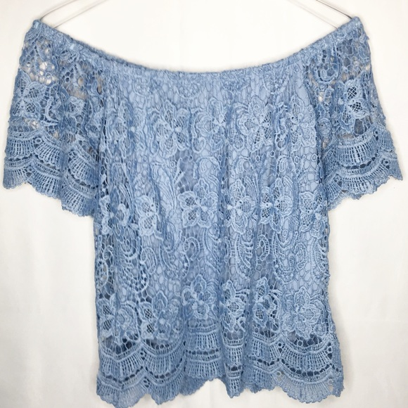 Haute Monde Tops Light Blue Lace Crochet Top Large Poshmark